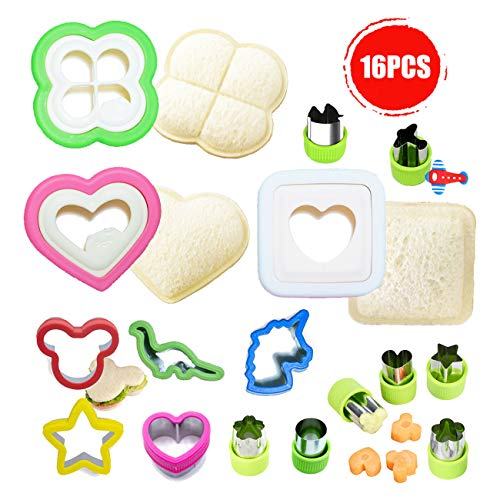 Aokinle Sandwich Cutter and Sealer for Kids, Cookie Food Cutters and Maker, Vegetable Cutters Shapes, Great for Boys and Girls Lunchbox,Bento Box