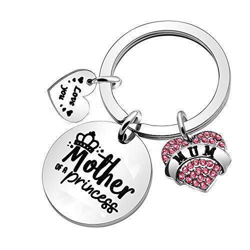 Llavero de regalo para el día de la madre, llavero para mujer de hija madre de una princesa