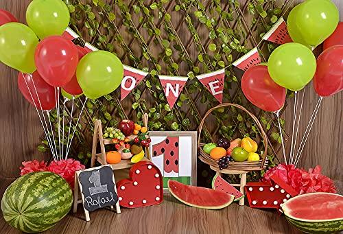 Fondo de fotografía de bebé niña Primera Fiesta de cumpleaños Flora Flores Limón sandía Retrato Telón de Fondo Estudio fotográfico A9 5x3ft / 1.5x1m