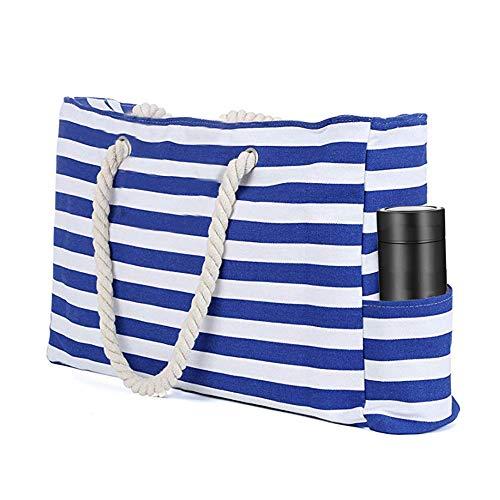 TOTZY Große Strandtasche aus Segeltuch, gestreift, inklusive wasserfester Handyhülle, Schlüsselhalter und Flaschenöffner, Blau (blau), Large