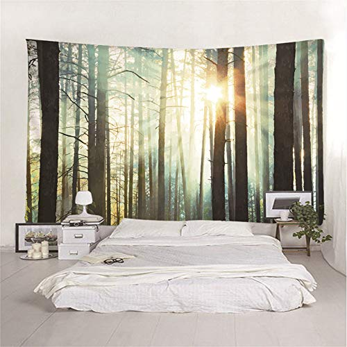 mohanshop 3D Tapestry Sunny Deep Forest Mandala Hippie Wall Hanging Indian Bohemian Dorm Decor Single Multi-Colored Bedsheet Print Picnic Table Cloth 130(H) X150(W) Cm