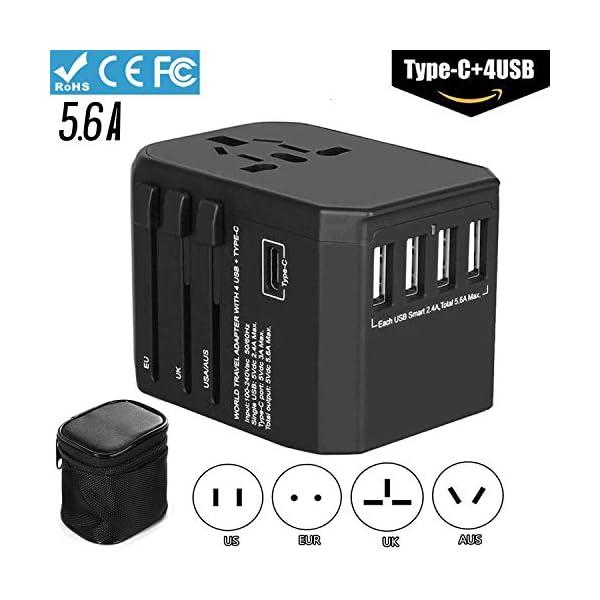 Adaptateur-de-Voyage-Prise-Universel-56A-avec-4-Ports-USB-et-30A-USB-Type-C-Chargeur-Convertisseur-Secteur-International-Italie-Japon-Suisse-Afrique-du-Sud-USA-Irlande-UK-Asie-US-180-Pays-Noir