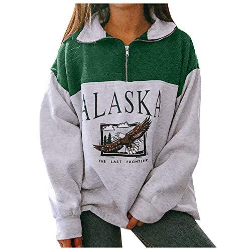 skiyy Sudadera para Mujer Alaska Letra Impresión Suelta Casual Manga Larga Hip Hop Alto Cuello Redondo Cremallera Águila Gráfico Jerseys Pullover Blouse Tops 2021 (Verde, S)
