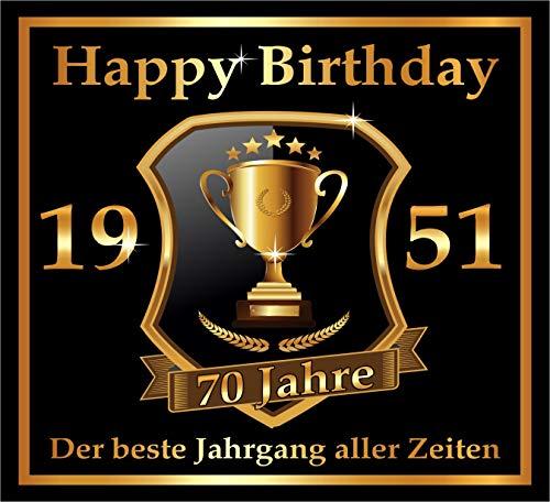 RAHMENLOS 3 St. Aufkleber zum 70. Geburtstag: 1951 der Beste Jahrgang Aller Zeiten - Selbstklebendes Flaschen-Etikett. Original Design