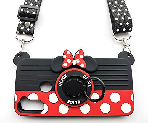 for Samsung Galaxy A11 Case with Lanyard Ring 3D Cute Soft Silicone Cartoon Minnie Mouse Camera Design Phone Case Best Gift for Women/Girls/Kids (A11 6.4in)