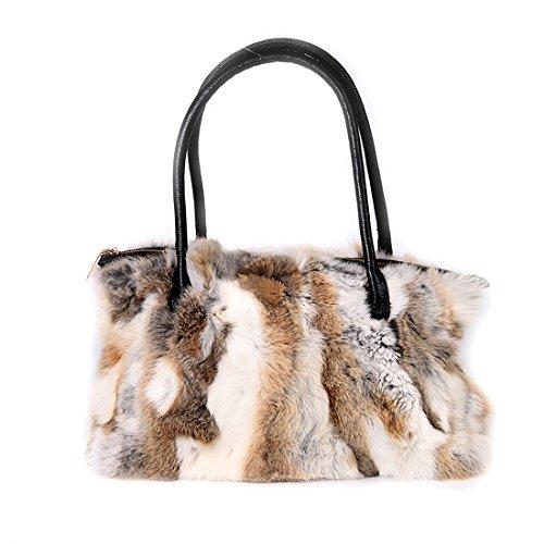 URSFUR USFUR Frauen Schicke Handtasche aus Echte Kaninchen Fell Henkeltaschen Shopper Damentasche Beuteltasche-mehrfarbig 2