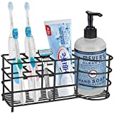 HBlife Toothbrush Holder, X-Large Stainless Steel Toothpaste Holder Bathroom Accessories Organizer, Black