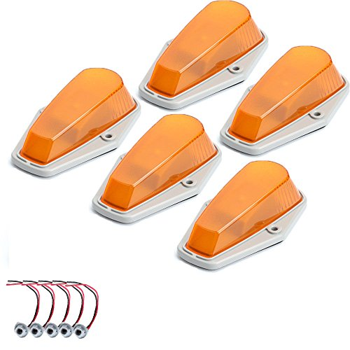 5 X Cab Marker Light, Amber Cover with Base Cab Roof Running Lights, Top Clearance Marker LightsAssembly for 1973-1997 Ford F-150 F-250 F-350 F Series Pickup Super Duty Trucks (without Bulbs)