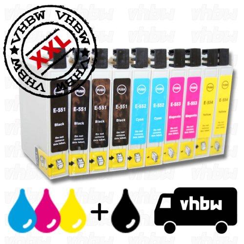 vhbw 10x Cartuchos de Tinta, Cartuchos Impresora Compatible con EPSON-Stylus-Photo R240 / R245 / RX420 / RX421 / RX425 / RX430 / RX520, etc.