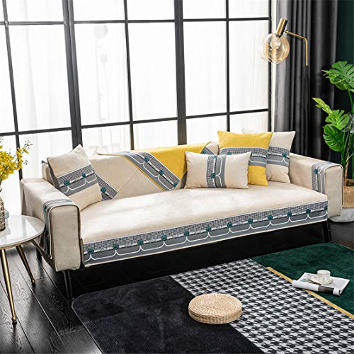 Cubierta de sofá antideslizante, cubierta de sofá de tamaño múltiple de tamaño de chenilla, protector de muebles de sala de estar transpirable, cubierta de cojín caliente de terciopelo,Beige,110*180cm