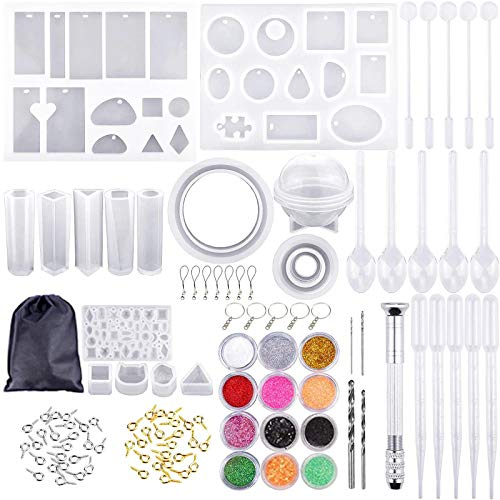 Belloxis 110 PCS Resin Kits, Letter & Number Silicone Resin Mould for Resin Casting