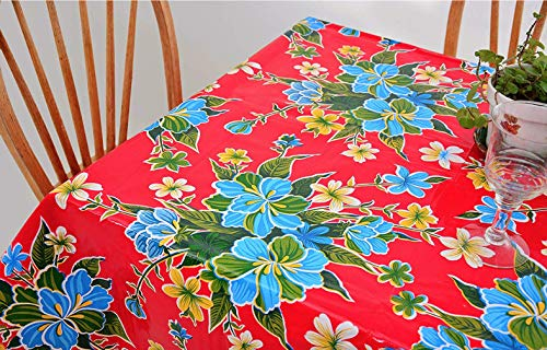 First Choice Vinyls - Waterproof Oilcloth Table Cloth - Wipeable Tablecloths for Picnic - Non-Fading Plastic Table Cover with Better Than Flannel Backing - Hibiscus Red (55x70in Rectangle)