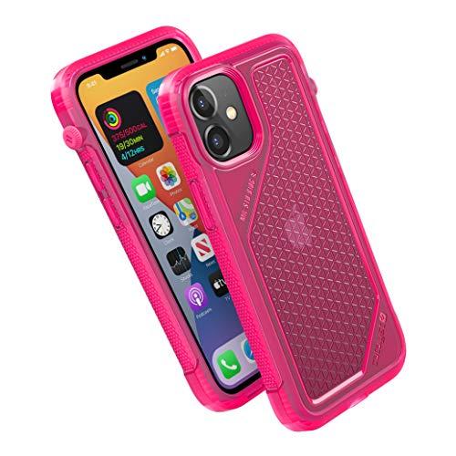 Vibe Series Funda diseñada para iPhone 12 Mini, interruptor de silencio giratorio patentado, compatible con MagSafe, a prueba de caídas de 10 pies, sistema de fijación Crux Accesorios, color rosa neón