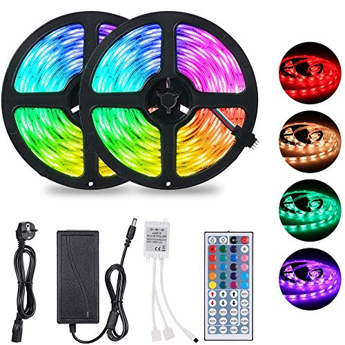 Striscia LED 10 Metri,Tomshine LED Striscia RGB con IR Telecomando a 44 Tasti e Alimentatore, 300LED 12V 6A, Luci Decorative a LED per Natale, Halloween, Parete di Fondo TV