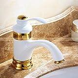 BDWS Bacia Torneiras De Bronze Antigo Pia Do Banheiro Único Punho Quente E Fria Misturador Lavagem Água Torneira Wc Torneira GaloWhite