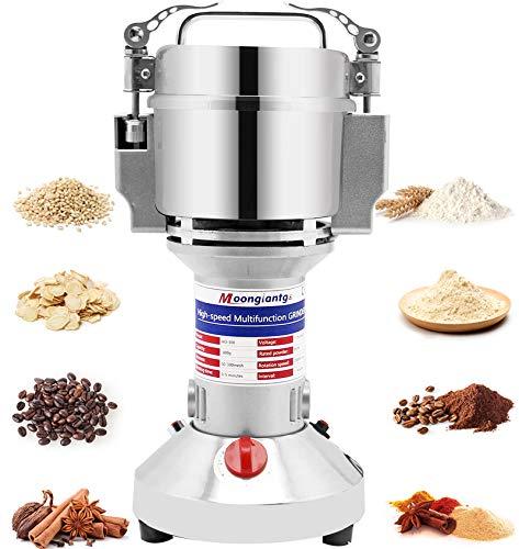 Moongiantgo Electric Grain Grinder Mill 700g Herb Spice Grinder Superfine Powder Machine Stainless Steel Pulverizer Dry Grinder (Capacity: 700g, 110V)