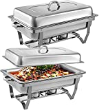 Mophorn Chafing Dish 2 Packs 8 Quart Stainless Steel Chafer Full Size Rectangular Chafers for Catering Buffet Warmer Set with Folding Frame