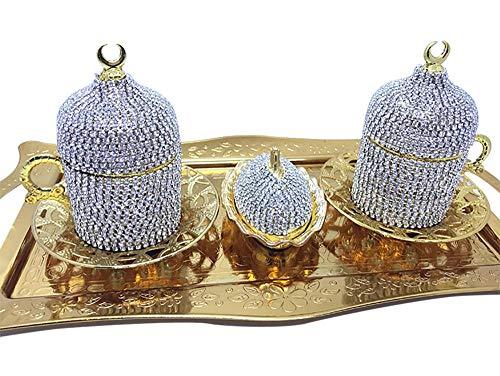 2-teiliges Set von Swarovski Kaffeetassen – Kristallbeschichtete Kaffeetasse – Ottomane Türkisch Griechisch Arabisch Kaffee Espresso Tassen – Goldene Farbe Serviertassen und Untertassen Set