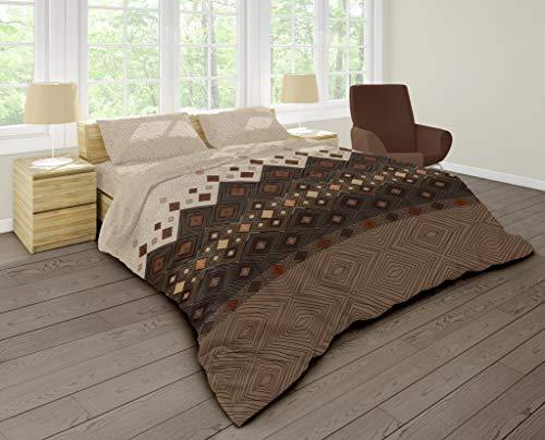 FAKTOR - 2 Bettwäsche Baumwolle 135x200 Bettbezug, 80x80 Kissenbezug, braun beige mit geometrischen Formen, hautsympathisch, mit praktischem Reißverschluss, Premium