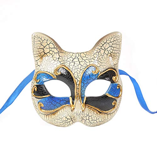 Amosfun Katze Maske Kätzchen Maske Halloween Maske für Katze Party Kitty Party Kinder Kostüme Foto Prop Dress Up Halloween Kinder Make-up Party Maske Riss Halbes Gesicht Maskerade Maske