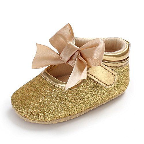 TIMATEGO Baby Girl Mary Jane Flats Shoes Non Slip Soft Sole Infant Toddler First Walker Wedding Princess Dress Crib Shoes, 6-12 Months Infant, 03 Gold Baby Girl Shoes