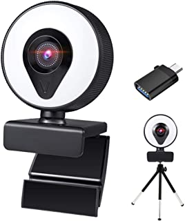 1080P Webcam with Microphone and Ring Light LucaSng Streaming HD Webcam Adjustable Brightness USB Web Camera with Tripod f...