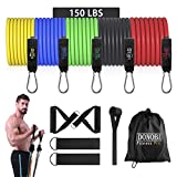 Resistance Bands Set, Donobi 150Lbs Workout Bands for Men Women Fitness,Natural Latex Tension Rope, Resistance Training Exercise Bands,Yoga-Pilates Office Home Gym Workout Fitness Equipment (150)