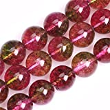 JOE FOREMAN Tourmaline Faux Crackle Beads for Jewelry Making Gemstone Semi Precious 12mm Round 15' Dyed Color