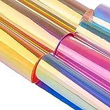 GORGECRAFT 7Pz Foglio olografico in PVC 8'x 12' Vinile Trasparente Iridescente Arcobaleno Pellicola Trasparente Lucida Pellicola a Specchio Tessuto per Scarpe Borsa da Cucire