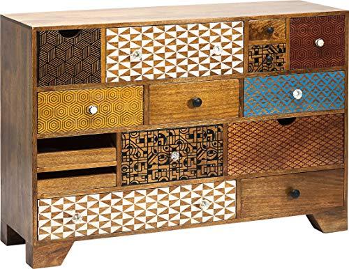 Kare Design Kommode Soleil 14 Schübe, modernes TV Sideboard mit bunten Retro Lackierungen, Braun (H/B/T) 80x115x36cm