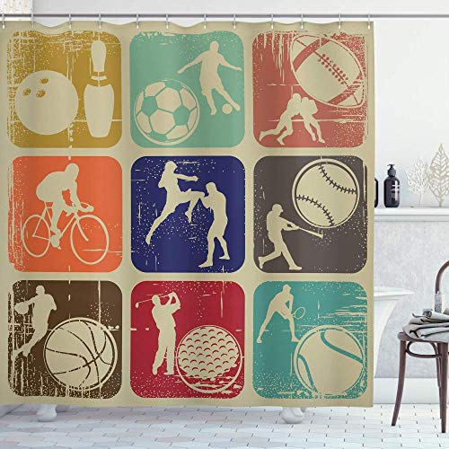 Sport Duschvorhang Verschiedene Sport Banner Vintage Grunge Effekt Tennis Fußball Bowling Sport Pub Thema Badezimmer Dekor Set