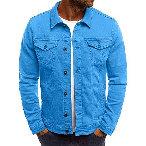 Uhdfjsjd Men's Jacket, Autumn Winter Solid Color Turn-Down Collar Vintage Denim Button Coat Tops Blouse