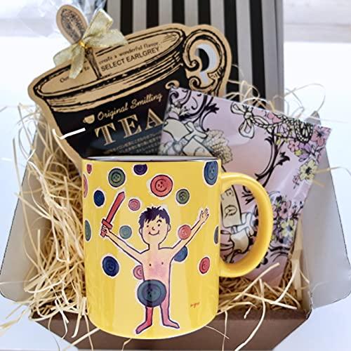 cafe,q カフェック、マカダミア チョコレート & フレーバーティー & サヴィニャック マグカップ(わんぱく戦争)セットギフト
