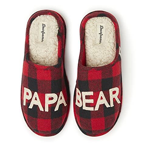 Dearfoams Men's Papa Bear Slipper, Buffalo Plaid, Large