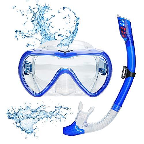 Lychee Snorkelset voor volwassenen, duikbril, 180 graden panoramisch siliconenmasker, anti-condens, professioneel snorkelmasker met snorkel voor heren en dames