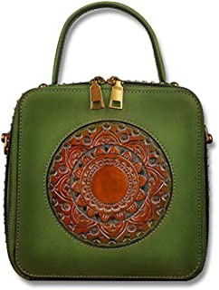 Luxurious Wearable and Comfortable Top Layer Cowhide Women's Handbag Embossed Design Retro One Shoulder Small Square Bag 19 * 20.5cm (Color : Green)