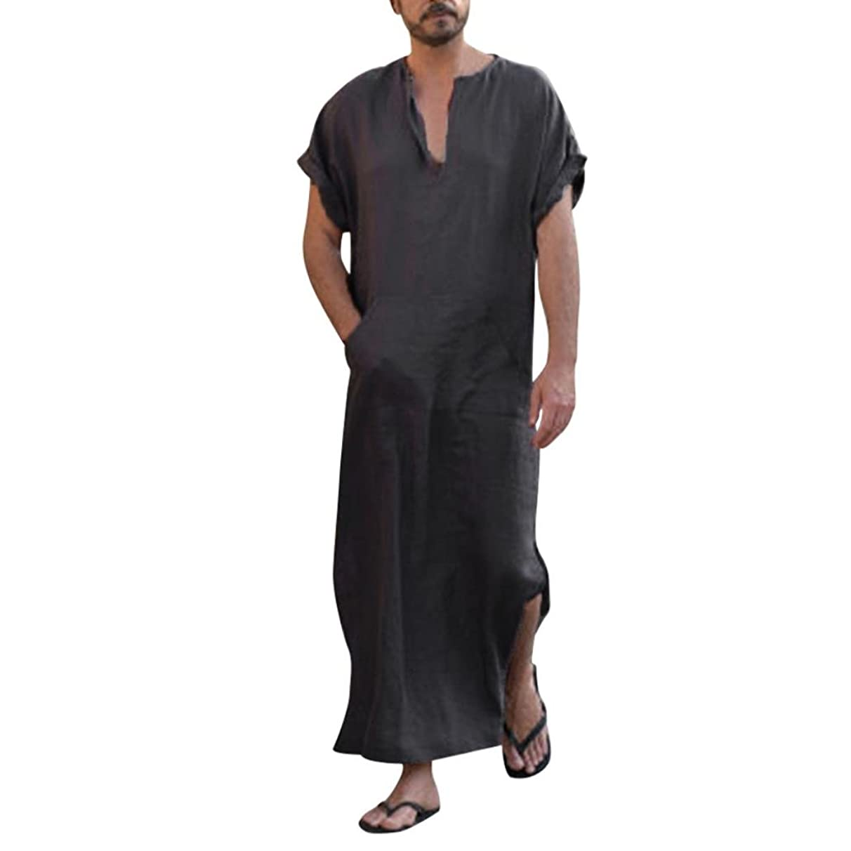 WensLTD Fashion Mens Ethnic Robes Loose Striped Short Sleeve Thin Vintage Dress Kaftan
