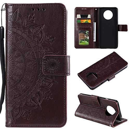 Snow Color OnePlus 7T Hülle, Premium Leder Tasche Flip Wallet Case [Standfunktion] [Kartenfächern] PU-Leder Schutzhülle Brieftasche Handyhülle für OnePlus 7T - COHH051304 Braun