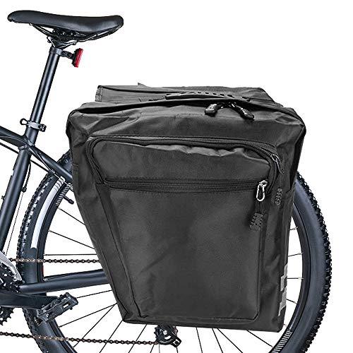 Punvot Alforja para bicicleta, color negro, multifunción, impermeable, doble bolsa para sillín de bicicleta con varios bolsillos, gran paquete de viaje, accesorios para bicicleta