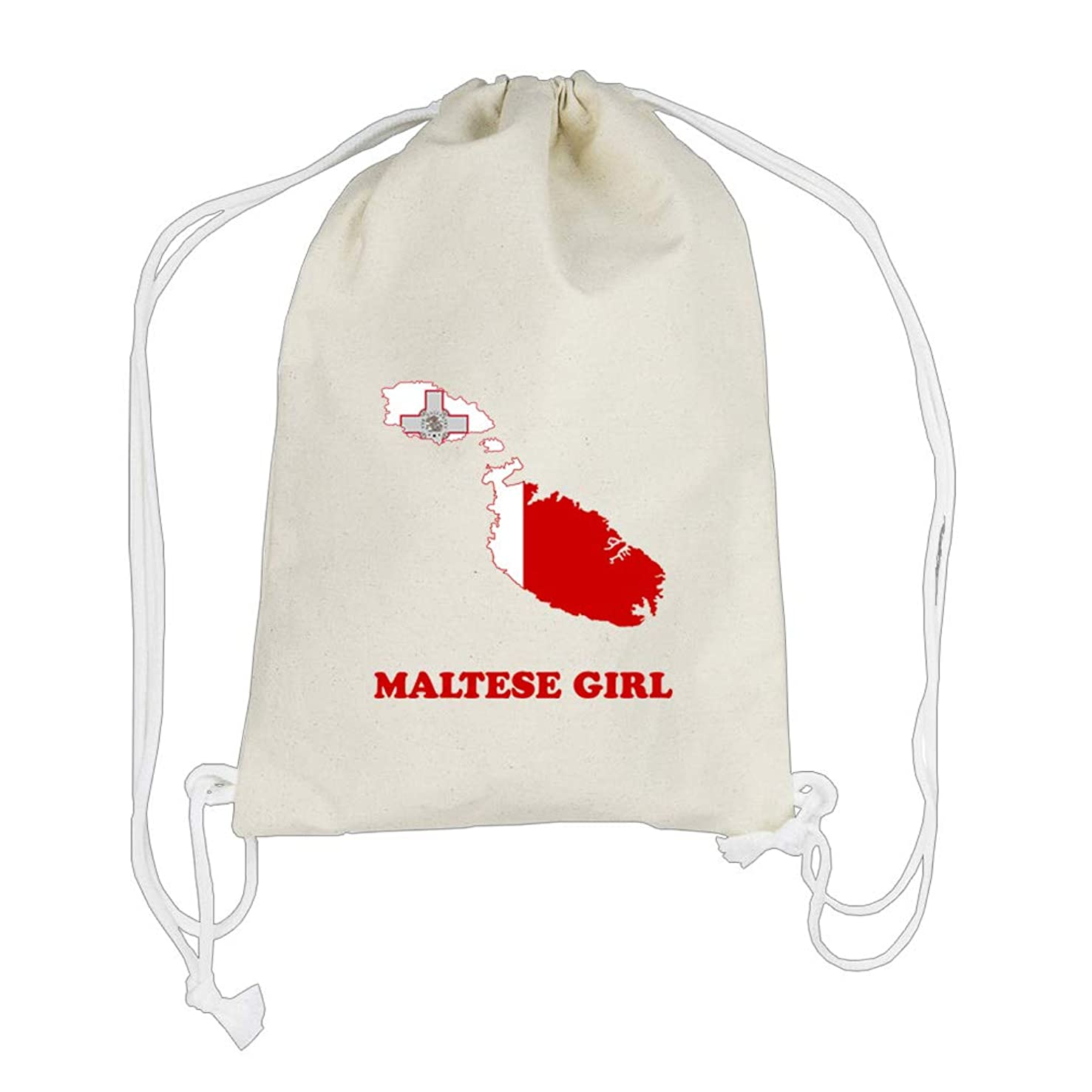 Maltese Girl Cotton Canvas Backpack Drawstring Bag Sack