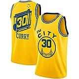 CURVEASSIST Camisetas De Baloncesto 2019/20 Warrior The City # 30 Curry Hombres Retroceso RespirableBaloncesto Verano Corto Secado Rápido Ropa Deportiva Amarillo,Yellow-L