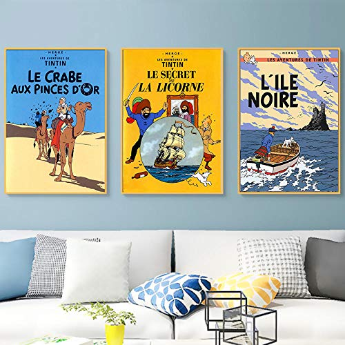 HMOTR Camel Desert Tintin Adventure Comics Cartoon Retro Vintage Classic Poster Canvas Painting Art Wall Sticker Bar Decoración para el hogar Regalo-40x50cmx3pcs_No_Frame