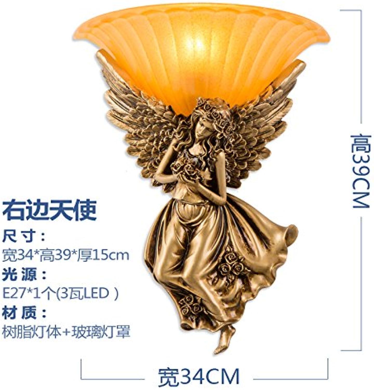 StiefelU LED Engel Wandleuchte Schlafzimmer Nachttischlampe Treppenhaus Straenbau Hintergrund Wandleuchten, Engel rechts (Gold) + 3 Watt-LED