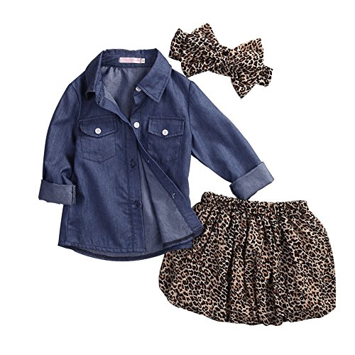 GRNSHTS Baby Girls Cowboy Skirt Set Blue Jean Shirt + Leopard Skirt + Headband (90/12-18 Months, Cowboy Shirt + Leopard Skirt)