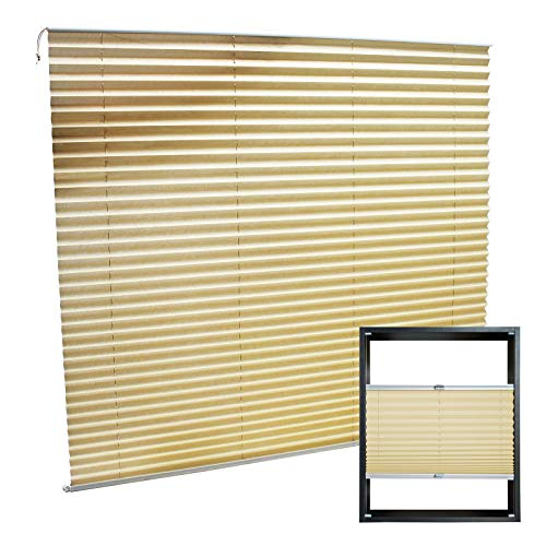 WilTec Estor Plisado Color Crema 110x150cm Persiana Interior Cortina Enrollable Celosía para Ventana