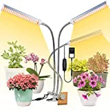 JLDNC Lámpara de Plantas, 36W Lámpara LED Cultivo con 3/6 / 12h Interruptor Temporizador Auto 3 Cabezales LED Grow Light 3 Modos 6 Brillo Lámpara de Crecimiento para Jardinería Bonsai,W