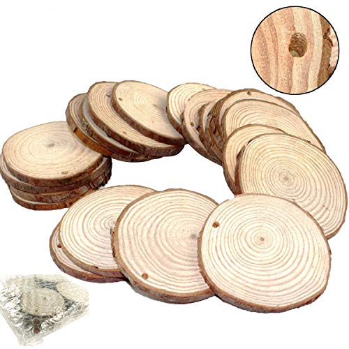"""Goodlucky 50pcs 2""""-2.5"""" Unfinished Predrilled Natural Wood Slices"""