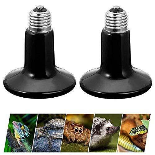 liuer Lámpara para Tortuga 2PCS Lámpara de Calor de Reptil,Lámparas Térmicas para Terrarios E27 Bombilla de Calor Infrarroja de Cerámica Lámpara para Tortuga Lagartos Serpientes Camaleones (50W)