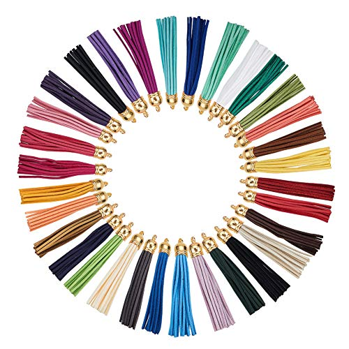 PH PandaHall 32 Pcs Faux Suede Leather Tassel Pendants Decorations with Golden End Caps for Key Chain Cellphone Straps DIY Jewelry Accessories 32 Colors