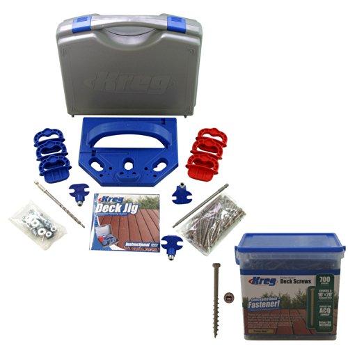 "Kreg KJDECKSYS Pocket Hole Jig System Kit with SDK-C2W-700 Number 8 x 2"" Coarse Protec-Kote Deck Screw, 700ct"
